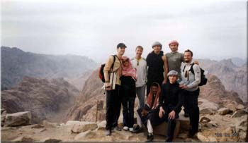 Mark, Anna, Daren, Andrey, Jim, James, Dennis (Andrey's student in Kiev) and Sala (guide) atop Mt. Sinai, where Moses received the Ten Commandments.